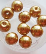 Pearl Glass 8mm Beads. Dark Gold x 10